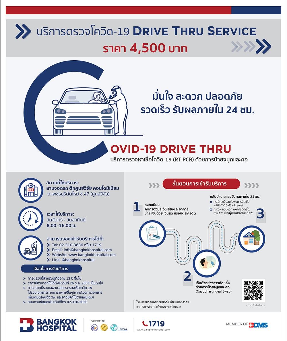 """""""รพ.กรุงเทพ บริการตรวจโควิด-19 DRIVE THRU SERVICE""""  สะดวก ปลอดภัย รวดเร็ว รับผลภายใน 24 ชม."""