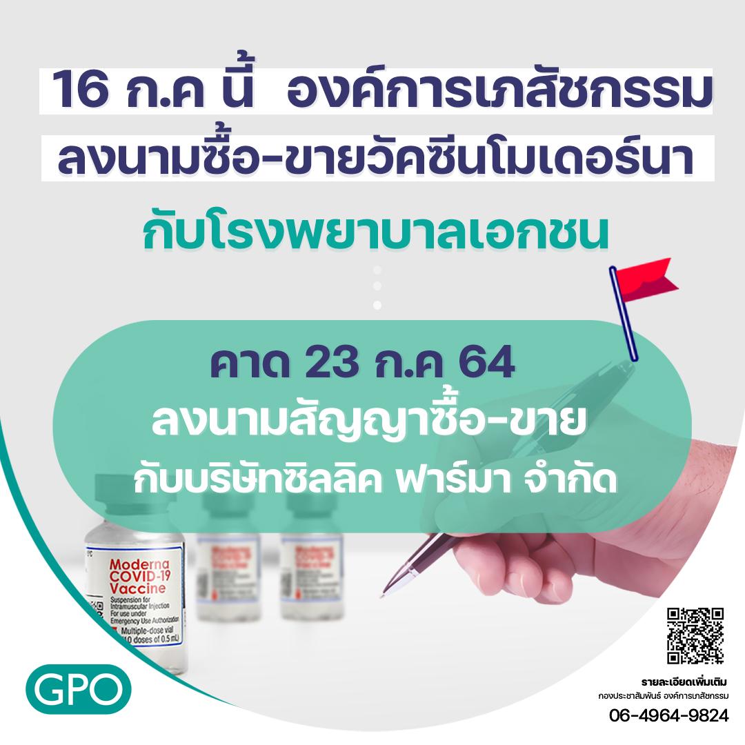องค์การเภสัชกรรม ลงนามซื้อ-ขายวัคซีนโมเดอร์นากับโรงพยาบาลเอกชน คาด 23 กรกฎาคม 2564 ลงนามสัญญาซื้อ-ขาย กับบริษัทซิลลิค ฟาร์มา จำกัด